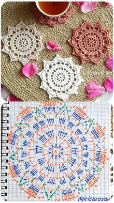 Crochet Mandala Pattern, Crochet Lace Edging, Crochet Diagram, Crochet Round, Crochet Chart, Thread Crochet, Crochet Doilies, Knit Crochet, Crochet Patterns