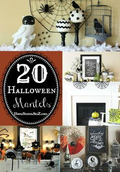 Great inspiration for decorating. 20 Halloween mantels by bloggers.