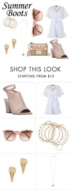 """summertime glam"" by fashion-freaks ❤ liked on Polyvore featuring Franco Sarto, Topshop, Victoria Beckham, Marc Jacobs, Accessorize, Gucci, dress, summerstyle, summerdress and summerbooties"