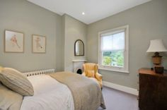 Paint colours:- Dulux Pebble Shore, or FB Joas White and Wimbourne White Small Bathroom Colors, Bathroom Paint Colors, Paint Colors For Home, House Colors, White Bathroom, Light Green Bedrooms, Bedroom Green, Home Bedroom, Bedroom Decor