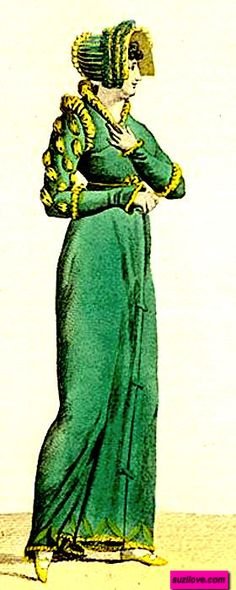 1807 Redingote, or Pelisse, or Walking Dress, British. Green velvet and decorated with yellow satin in a military style with yellow shoulder trim. A green Capote, or hat, is also trimmed with yellow satin, and matched with yellow shoes. This is the same Redingote pattern as seen on La Belle Assemblee. Fashion Plate via Journal des Modes et des Dames, or Costume Parisienne. suzilove.com