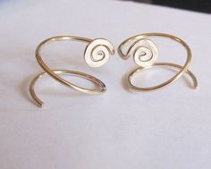 """1/2"""" Gold Filled Double Hoop Earrings for 2 Piercings with Spiral Feature"""
