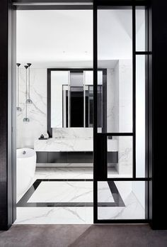 Sophisticated monochromatic home in Melbourne's Toorak White marble bathroom. Timeless Bathroom, Modern Bathroom, Master Bathroom, Bathroom Black, Mirror Bathroom, Bathroom Goals, Floor Mirror, Bad Inspiration, Bathroom Inspiration