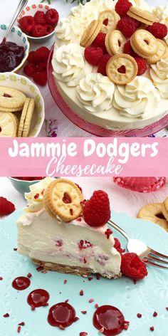 No-bake Jammie Dodogers cheesecake! A simple no-bake Vanilla and raspberry jam r… No-bake Jammie Dodogers cheesecake! A simple no-bake Vanilla and raspberry jam ripple cheesecake with a Jammie dodger base. Brownie Desserts, Köstliche Desserts, Dessert Recipes, Food Deserts, Picnic Recipes, Health Desserts, Summer Cheesecake, Cheesecake Recipes, Baked Vanilla Cheesecake