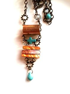 Industrial Copper and Turquoise Necklace