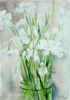 Still life with White Flowers  watercolor painting by tinyExpanse