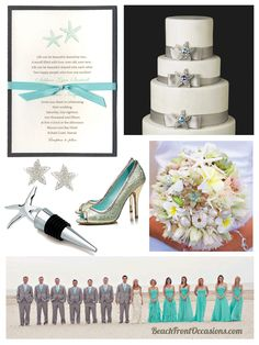 Pewter Silver and Aqua Starfish Wedding by Beach Front Occasions