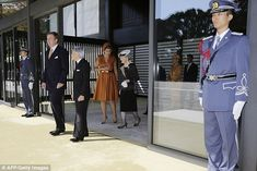 Ceremony: The two couples then took part in an official welcome ceremony which saw both flags raised