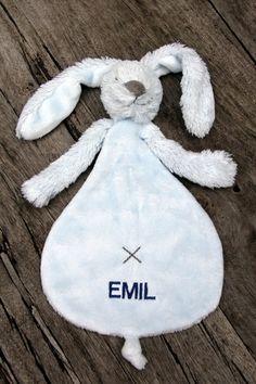 Schmusetuch Haseblau ♥ Herzilein Wien ♥ #herzileinwien #baby Bunny, Embroidery