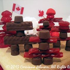 Make these candy Inukshuks for a sweet Canada Day decoration!
