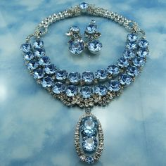 Designer Signed Robert Sorrell Blue Ice Crystal Splendor Statement from butterflyblue on Ruby Lane