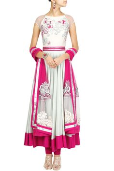 Pale blue and fuchsia embroidered anarkali set BY VARUN BAHL. Shop now at: www.perniaspopups... #perniaspopupshop