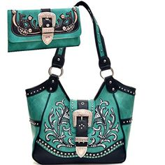Western Style Purse Wallet Set Rhinestone Belt Buckle Embroidered Concealed Carry Gun Shoulder Bag & Matching Wallet - Turquoise Way2Culture http://www.amazon.com/dp/B00N3J4DT4/ref=cm_sw_r_pi_dp_6UAsub1DM1NRD