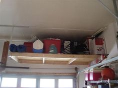 Kitchen Remodeling Tips and Facts Garage Wall Storage, Overhead Garage Storage, Garage Shelving, Workshop Organization, Garage Organization, Organization Ideas, Garage Shed, Garage House, Ceiling Shelves