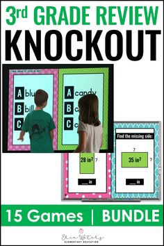 This 3rd Grade Knockout End of Year Review Bundle is a fun & engaging review for third graders at the end of the school year. It can also be used at the beginning of a fourth grade school year to have an exciting review of what the students learned during the previous term. This bundle includes the 3rd Grade Language Arts Knockout and the 3rd Grade Math Knockout review games. Your 3rd graders will love these games and will be excited to test their knowledge with this bundle. #3rdGrade 1st Grade Math, Fourth Grade, Third Grade, Subtraction Activities, Math Activities, Place Value Math Games, Kindergarten Language Arts, Reading Comprehension Activities, Classroom Games