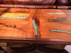 Sofa table with turquoise inlay top