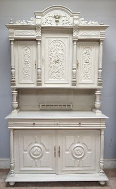Antique French 3 piece Buffet / Henri II style / Old White / Frenchfinds.co.uk