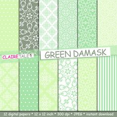 Damask digital paper GREEN DAMASK with green damask by ClaireTALE, $4.80