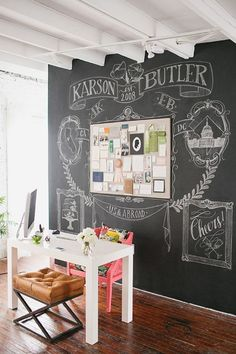 Buy a good chalk board paint and get creative. Maybe the door of your kitchen for grocery list, your desk area for ideas, the art wall in your bedroom. Release your inner artist and make a cool design. :-)