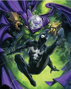 Spider-Man Vs Mysterio by Clayton Crain - Marvel Comics. Amazing Spiderman, Black Spiderman, Spiderman Art, Spiderman Symbiote, Nightwing, Batwoman, Comics Anime, Marvel Comics Art, Marvel Comic Books
