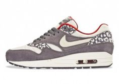 Loxk Nike Air Max 1 Women's Running Shoes Leopard Print Gray/White