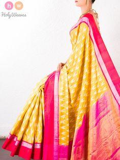 #Yellow #Katan #Tissue # #Pochampally #Handwoven #Saree #HolyWeaves