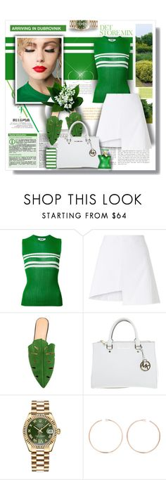 """""""Green Style"""" by angelflair ❤ liked on Polyvore featuring MSGM, WÃ¥ven, Charlotte Olympia, Michael Kors, Rolex, Anita Ko and Bond No. 9"""