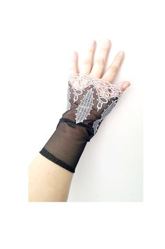 Black Grandeur luxury Wedding wrist cuffs glove  by SpecialFabrics