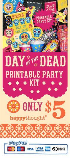 Instant Day of the Dead or el Dia de los Muertos DIY party celebration templates