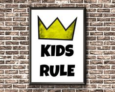 Kids Room Sign  Kids Rule Print  Kids Bedroom Printable Room Signs, Etsy Handmade, Printable Wall Art, Kids Bedroom, Art Boards, Canvas Wall Art, Nursery, Framed Prints, Printables