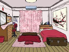 Dorm Layout, Room Layout Design, Dorm Room Layouts, Building Aesthetic, Aesthetic Rooms, Room Perspective Drawing, Bedroom Drawing, Dorm Design, Cute Room Ideas