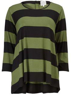 5efe21d4c438 New Season  Masai Bo Striped Top in Basil and Black  Fashion  WomensFashion