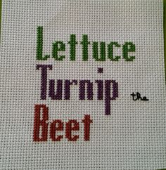 Lettuce Turnip the Beet finished cross stitch by Spinstering