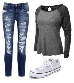 """Untitled #258"" by gymnastonbars ❤ liked on Polyvore featuring Converse, Current/Elliott and LE3NO"