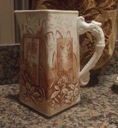 Lovely brown transferware pitcher