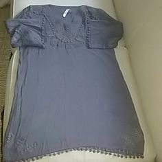 Grey embroidered light cotton mini dress Mini dress with embroidery. Can be worn alone or w/leggings Monoreno Dresses Mini