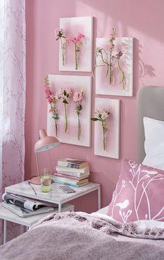 Blumenbilder // Gemalte Blumen hat jeder an der Wand hängen, aber echte? Dafür braucht man ein wenig Basteltalent, Leinwand, Reagenzgläser, das richtige Klebe-Know-how und natürlich die Hauptdarsteller: mehrere ungewöhnliche Einzelblüten!