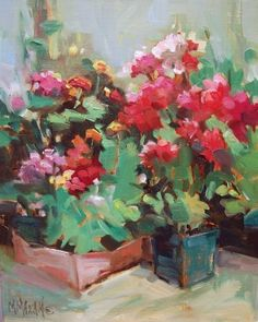 Planting Time -  flowers ready for the garden, painting by artist Mary Maxam