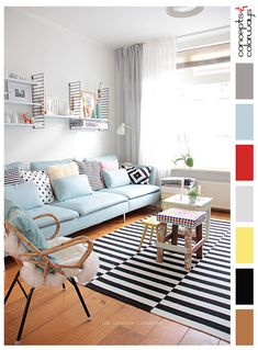 interior color palettes, pale gray living room, powder blue sofa, black and white striped rug, sheepskin hide, yellow accents, red accents, color combinations, color schemes.