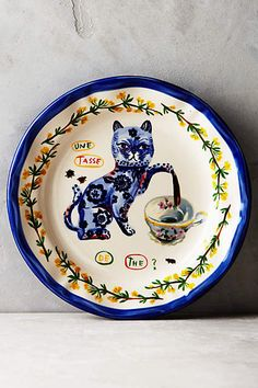 Francophile Dinner Plate - by Nathalie Lété Cat Teapot anthropologie.com #NathalieLété