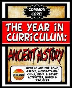 """Buy in bulk and SAVE with over 80 activities, notes and Common Core lessons!!! This file bundle includes the entire year in Ancient World history curriculum, packed with rigor,versatility and fun!CONTENT The content in the bundle is organized with the key """"big idea"""" Common Core concepts for Social Studies in mind."""