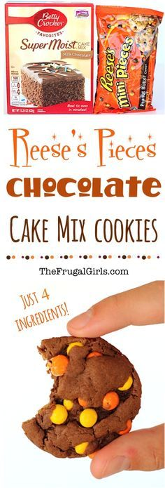 Reese's Pieces Chocolate Cake Mix Cookies Recipe! ~ from TheFrugalGirls.com {this Reeses Cookie Recipe is SO easy to make, and crazy delicious - pure chocolate and peanut butter bliss!!} #recipes #thefrugalgirls