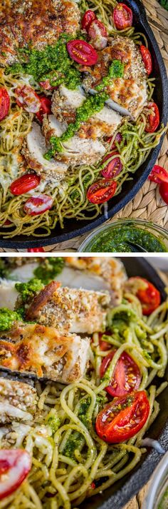 Almond Crusted Chicken from The Food Charlatan. This is a healthy dinner the whole family will love! Tender, juicy chicken paired with homemade basil pesto pasta. Broil with cheese on top! Everyone will love it!