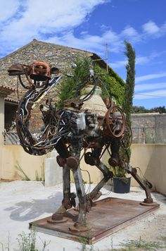 Camel sculpture made from scrap metal in Grimaud, south-east France