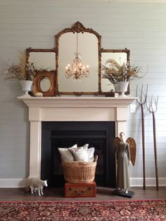 Farmhouse Decor (aged DIY) Mantel Shiplap Planked (DIY) Wall Quince Cottage  Style ©Rhiann Wynn Nolet