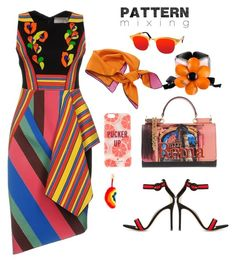 """""""Stay Bold: Pattern Mixing"""" by kissy-karan ❤ liked on Polyvore featuring Peter Pilotto, Gianvito Rossi, Marni, Anya Hindmarch, Christian Dior, Dolce&Gabbana, AQS by Aquaswiss and Kate Spade"""
