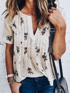 I like this shirt, especially the pattern & the sleeves. The v might be a bit low, though.