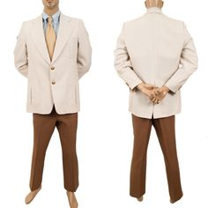 #RetroFashion #70sClothing #LeisureSuit Gold Button Sport Coat #VintageRetroClothingSuit #Curlee Mens Jacket Pants #PreOwnedClothing #SomeLikeItUsed