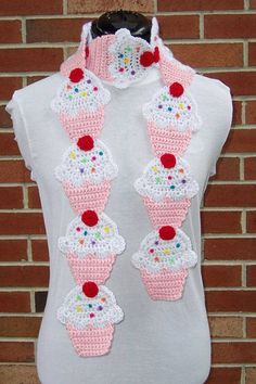 This listing is for one Couture Cupcake Scarf PATTERN in PDF form for crocheting. Couture Cupcake Scarf Pattern was designed and created byStrawberry Vanilla Cupcake Scarf by FiercePixyBoutique on EtsyMy Etsy store Fiercepixy BoutiqueWoolly happiness Crochet Scarves, Crochet Shawl, Crochet Clothes, Crochet Stitches, Knit Crochet, Crochet Patterns, Scarf Patterns, Crochet Gifts, Cute Crochet
