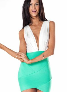 #SHOWPO                   #Skirt                    #Green #Bandage #Skirt #Dress #with #White #Plunge  Green Bandage Skirt Dress with White Plunge Top                               http://www.seapai.com/product.aspx?PID=1233782